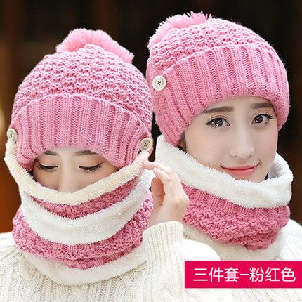 หมวกกันหนาว หมวกไหมพรมผู้หญิง+ที่ปิดปาก+ผ้าพันคอกันหนาวแฟชั่น