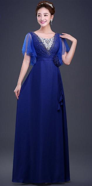 เสื้อผ้าแฟชั่นผู้หญิง ชุดราตรียาว สีน้ำเงินตามรูป