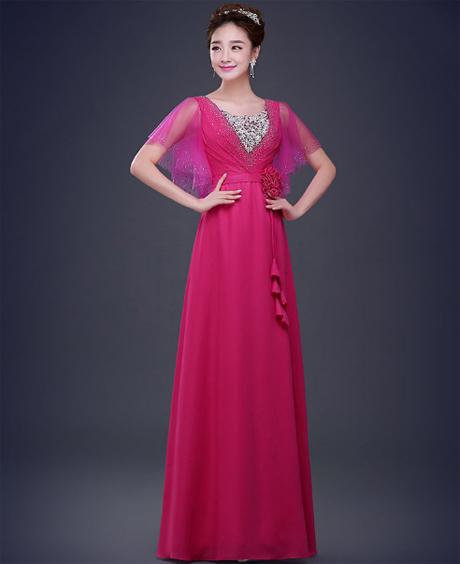 เสื้อผ้าแฟชั่นผู้หญิง ชุดราตรียาว สีชมพูตามรูป
