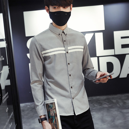 เสื้อเชิ้ตผู้ชายแขนยาว แฟชั่นเกาหลี