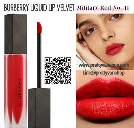 *พร้อมส่ง*Burberry Liquid Lip Velvet No.41 Military Red ลิปสติกเนื้อครีมกึ่งแมทท์ สามารถสร้างริมฝีปากให้ดูโดดเด่นด้วยสีที่เด่นชัด แต่ให้ความรู้สึกเบาสบายและอ่อนนุ่มบนริมฝีปากเนื้อดีมาก แมตต์แบบนุ่มปากขั้นสุด ไม่ตกร่อง ปากอิ่ม ติดทน กลบสีปากมิด แถมยังเอ