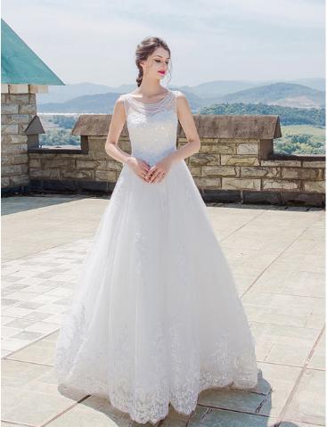 เสื้อผ้าผู้หญิง ชุดแต่งงานสีขาวตามรูป