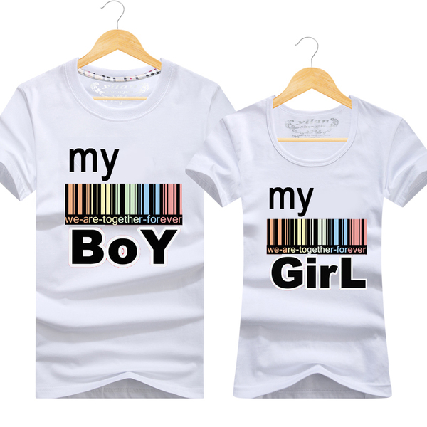 เสื้อยืดคู่รัก เสื้อคู่รักแฟชั่น ชุดคู่ชายหญิง (ราคา/คู่)