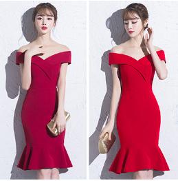 เสื้อผ้าผู้หญิง ชุดราตรีสั้นfishtail เข้ารูปสีแดงตามรูป