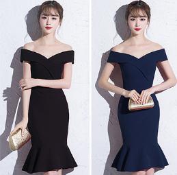 เสื้อผ้าผู้หญิง ชุดราตรีสั้นfishtail เข้ารูปสีดำตามรูป