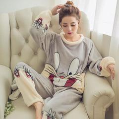 เสื้อผ้าผู้หญิง ราคาถูก เสือยืด + กางเกง ชุดนอนแฟชั่นเกาหลี Bugs Bunny hedging  มี สีเทา สีชมพู มี ไซร์ M L XL 2XL