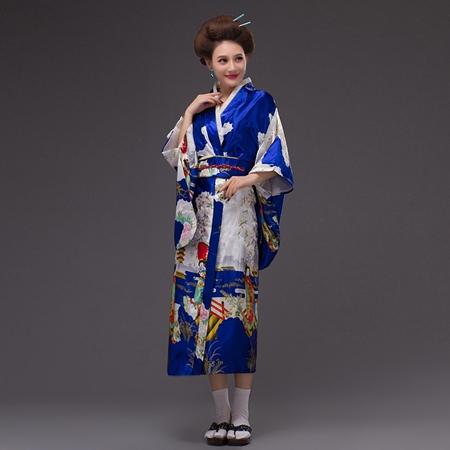 ++พร้อมส่ง++ชุดกิโมโนยาว กิโมโนญี่ปุ่นยาว สีน้ำเงินลายสวย พิมพ์ลายดอกไม้น่ารัก