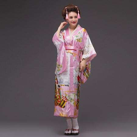 ++พร้อมส่ง++ชุดกิโมโนยาว กิโมโนญี่ปุ่นยาว สีชมพูลายสวย พิมพ์ลายดอกไม้น่ารัก