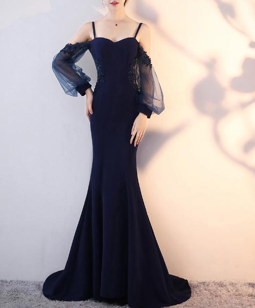 เสื้อผ้าผู้หญิงชุดออกงาน ชุดราตรีสีกรมตามรูป