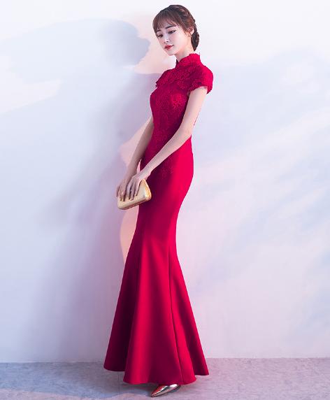 เสื้อผ้าผู้หญิง ชุดออกงาน ชุดราตรีสีไวน์แดงตามรูป