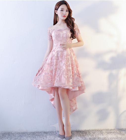 เสื้อผ้าผู้หญิง ชุดออกงาน ชุดราตรีสั้น สีชมพูตามรูป