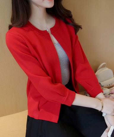 พร้อมส่ง เสื้อกันหนาว เสื้อคลุม แขนยาว จั๊มแขน ผ้าไหมพรมเนื้อนิ่มมาก สี แดง พร้อมส่ง
