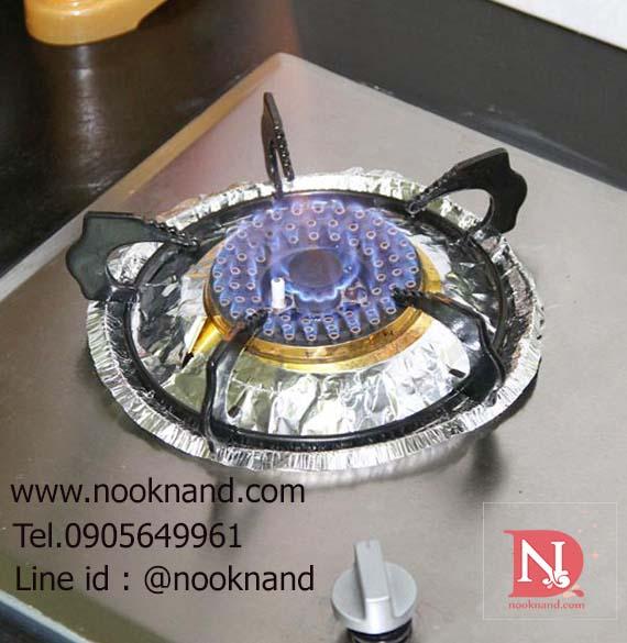 (ทรงกลม1ชุดมี10ชิ้น)ฟรอยกันเปื้อนสำหรับวางบนเตาแก๊สขณะทำอาหาร