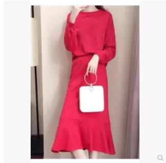 เสื้อคอวี แขนยาว + กระโปรงยาว มี2สี แดง/ดำ มีไซส์ XL/2XL/3XL/4XL/5XL