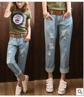 กางเกงผู้หญิง ผู้ชาย ราคาถูก กางเกงยีนส์ หลวม มี สีฟ้า สีน้ำเงิน มี ไซร์ 26-30