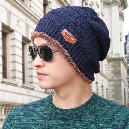 (พร้อมส่งสีกรมท่า หมวกอย่างเดียว) หมวกแฟชั่นกันหนาวผู้ชาย หมวกไหมพรมกันหนาว