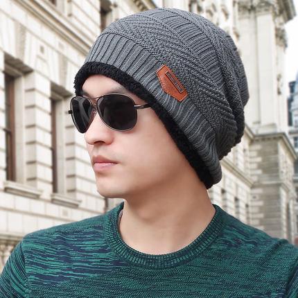 (พร้อมส่งสีเทา หมวกอย่างเดียว) หมวกแฟชั่นกันหนาวผู้ชาย หมวกไหมพรมกันหนาว