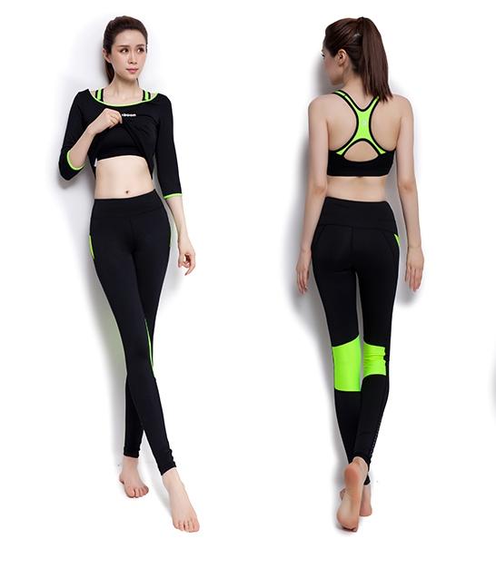 **พร้อมส่ง size  M /L/XL สีดำ-เขียว ชุดออกกำลังกาย/โยคะ/ฟิตเนส เสื้อแขนยาว+บรา+กางเกงขายาว