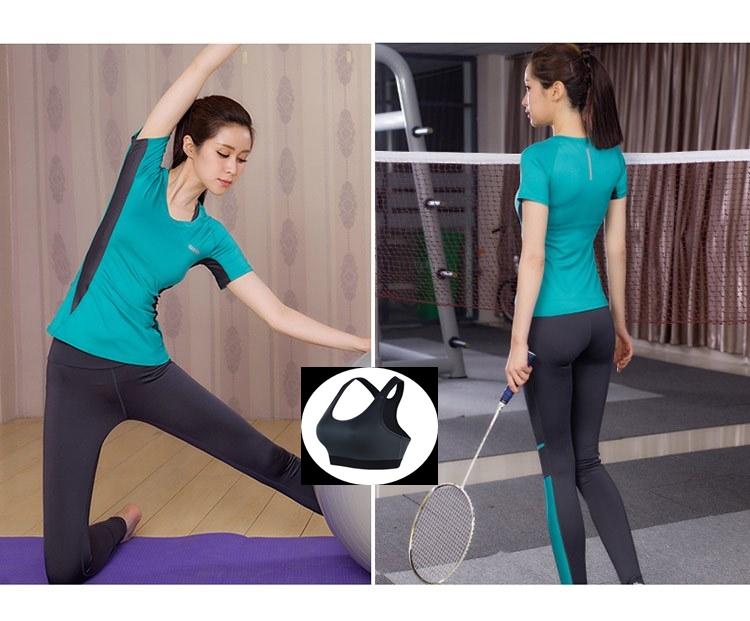 **พร้อมส่ง size M/L/XL  สีฟ้า-เทา ชุดออกกำลังกาย/โยคะ/ฟิตเนส เสื้อแขนสั้น+บรา+กางเกงขายาว