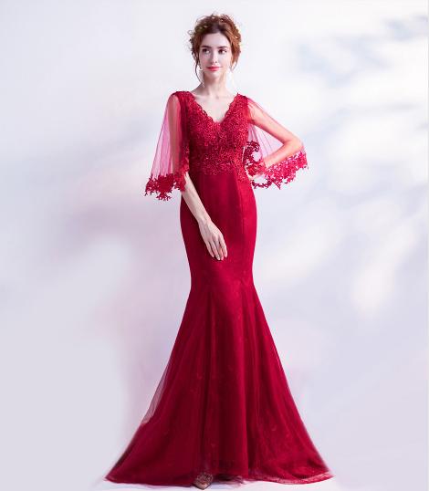 เสื้อผ้าผู้หญิง ชุดออกงาน  ชุดราตรียาว  สีแดงตามรูป