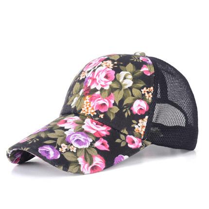 (พร้อมส่งสีดำ) หมวกแก็ปแฟชั่น หมวกแฟชั่นลายดอกไม้สวย หมวกแก็ป หมวกลายดอกไม้