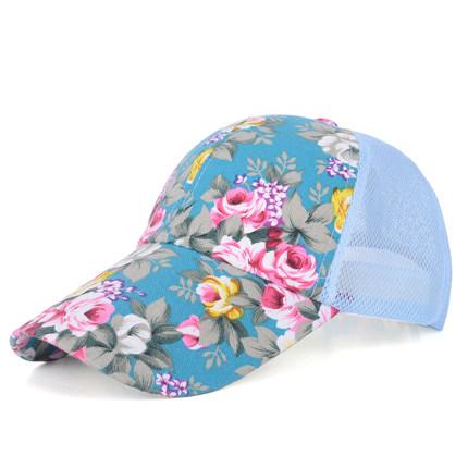 (พร้อมส่งสีฟ้า) หมวกแก็ปแฟชั่น หมวกแฟชั่นลายดอกไม้สวย หมวกแก็ป หมวกลายดอกไม้
