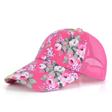 (พร้อมส่งสีชมพู) หมวกแก็ปแฟชั่น หมวกแฟชั่นลายดอกไม้สวย หมวกแก็ป หมวกลายดอกไม้