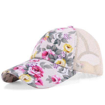 (พร้อมส่งสีครีม) หมวกแก็ปแฟชั่น หมวกแฟชั่นลายดอกไม้สวย หมวกแก็ป หมวกลายดอกไม้