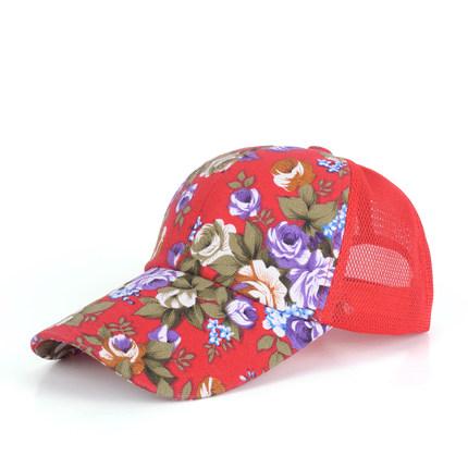 (พร้อมส่งสีแดง) หมวกแก็ปแฟชั่น หมวกแฟชั่นลายดอกไม้สวย หมวกแก็ป หมวกลายดอกไม้