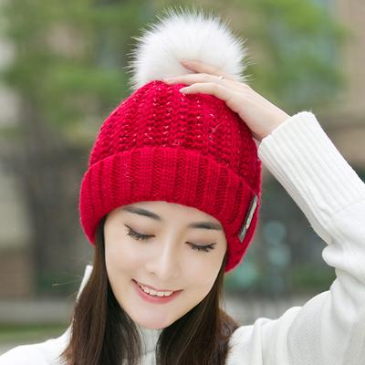 (พร้อมส่งสีแดง) หมวกไหมพรมกันหนาว หมวกแฟชั่นกันหนาว อุปกรณ์กันหนาว
