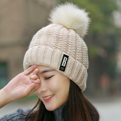 (พร้อมส่งสีครีม) หมวกไหมพรมกันหนาว หมวกแฟชั่นกันหนาว อุปกรณ์กันหนาว