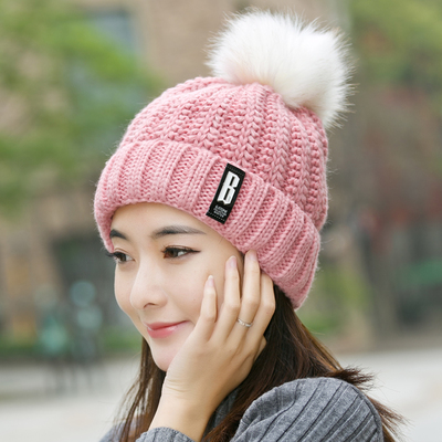 (พร้อมส่งสีชมพู) หมวกไหมพรมกันหนาว หมวกแฟชั่นกันหนาว อุปกรณ์กันหนาว