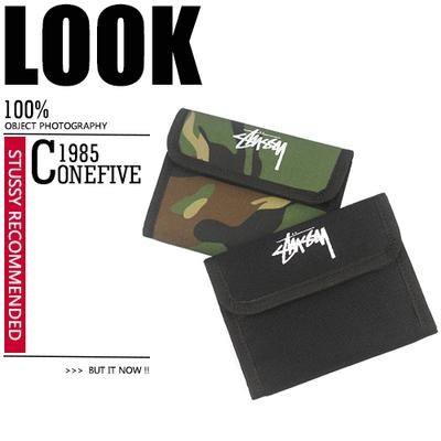 กระเป๋าผู้ชาย ราคาถูก กระเป๋าสตางค์  Stussy มี สีดำ สีกองทัพเขียว
