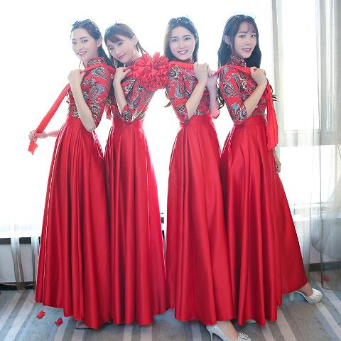 ชุดเดรสออกงานสาวจีน ชุดธีมเพื่อนเจ้าสาว ชุดแซก ชุดราตรี ชุดสีแดงตรุษจีน