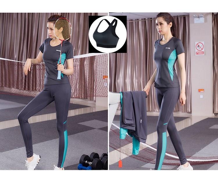 **พร้อมส่ง size M/L XL  สีเทาฟ้า ชุดออกกำลังกาย/โยคะ/ฟิตเนส เสื้อแขนสั้น+บรา+กางเกงขายาว