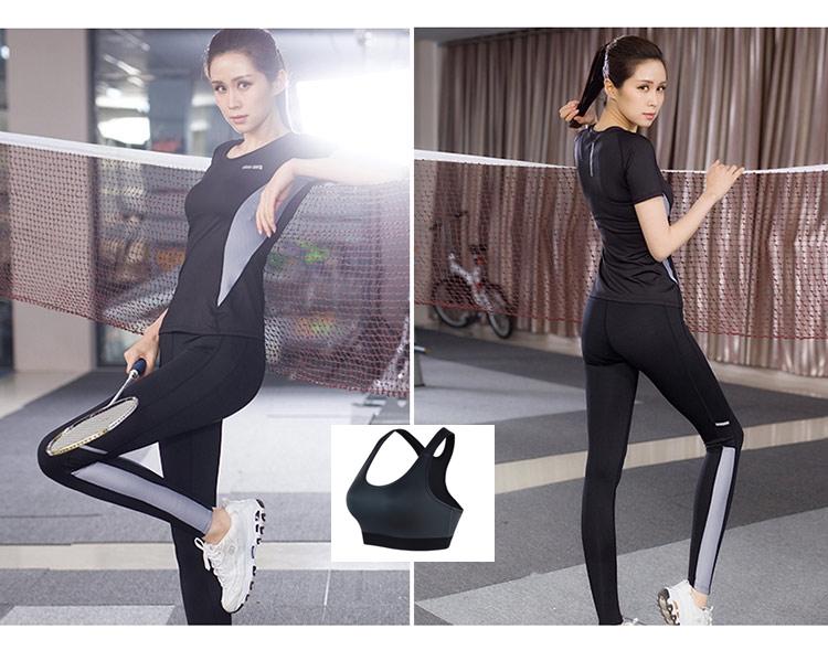**พร้อมส่ง size M/L/XL  สีดำ-เทา ชุดออกกำลังกาย/โยคะ/ฟิตเนส เสื้อแขนสั้น+บรา+กางเกงขายาว