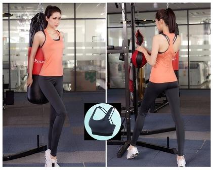 **พร้อมส่ง  สีส้ม size XL ชุดออกกำลังกาย/โยคะ/ฟิตเนส เสื้อกล้าม+บรา+กางเกงขายาว