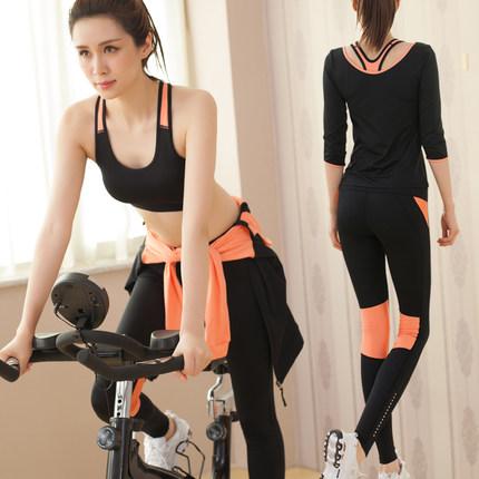 **พร้อมส่ง size M /L/XL สีดำ-ส้ม ชุดออกกำลังกาย/โยคะ/ฟิตเนส เสื้อแขนยาว+บรา+กางเกงขายาว
