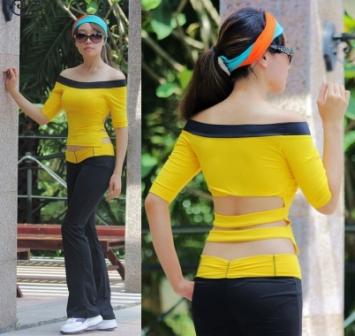 **พร้อมส่ง สีเหลือง  size M  ชุดโยคะ/ชุดออกกำลังกาย/เต้น/แอโรบิก  เสื้อแขนยาวเปิดไหล่ +กางเกงขาม้า
