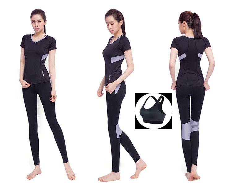 **พร้อมส่ง size XL สีดำเทา ชุดออกกำลังกาย/โยคะ/ฟิตเนส เสื้อแขนสั้น+บรา+กางเกงขายาว