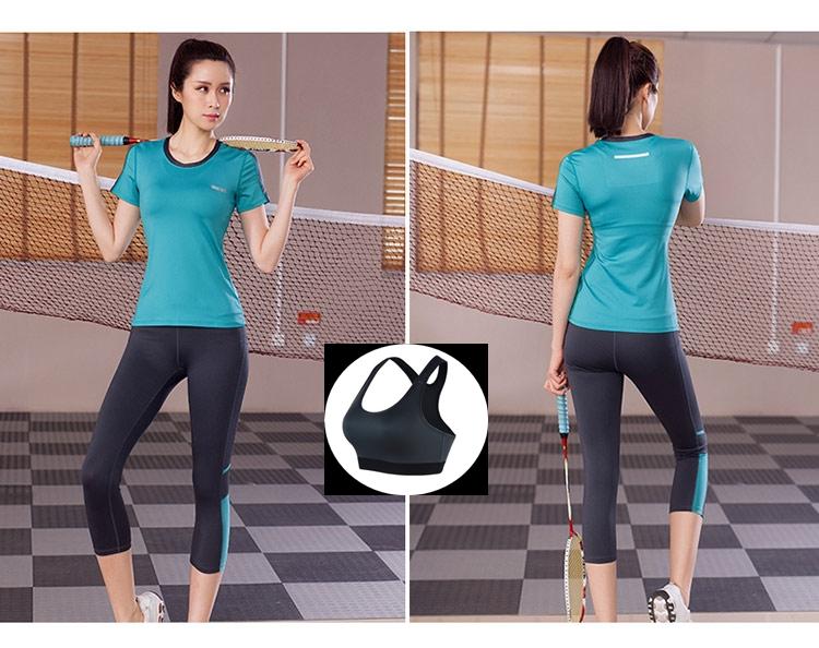 **พร้อมส่ง size XLสีฟ้า ชุดออกกำลังกาย/โยคะ/ฟิตเนส เสื้อแขนสั้น+บรา+กางเกงห้าส่วน
