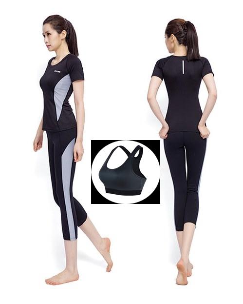 **พร้อมส่ง size L  สีดำ-เทา ชุดออกกำลังกาย/โยคะ/ฟิตเนส เสื้อแขนสั้น+บรา+กางเกงสี่ส่วน