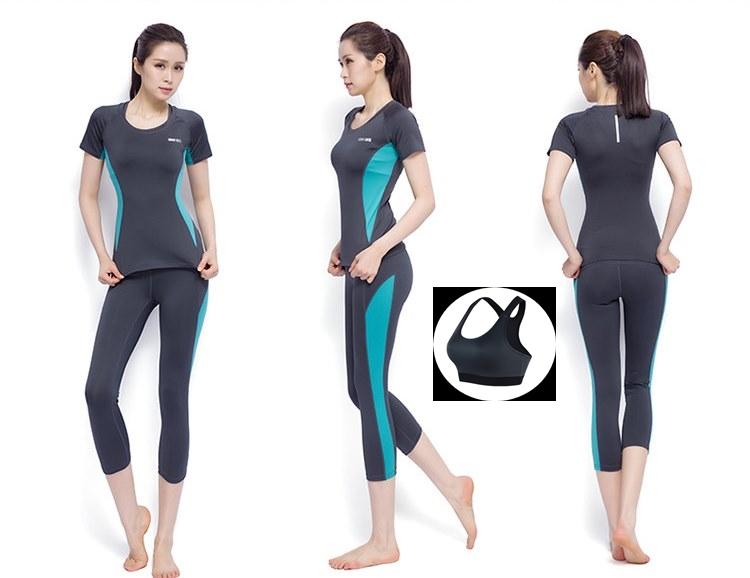 **พร้อมส่ง size M/L/XL สีเทา-ฟ้า ชุดออกกำลังกาย/โยคะ/ฟิตเนส เสื้อแขนสั้น+บรา+กางเกงสี่ส่วน
