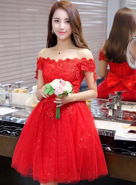 เสื้อผ้าผู้หญิง ชุดออกงาน ชุดราตรีสั้น  สีแดงตามรูป
