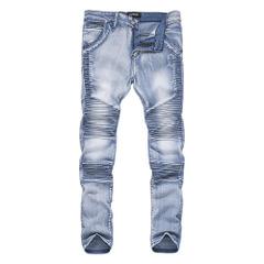 กางเกงผู้ชาย ผู้หญิง ราคาถูก กางเกงยีนส์ รถจักรยาน folds Slim  มี สีฟ้า สีดำ มี ไซร์ M L XL XXL