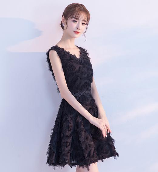 เสื้อผ้าผู้หญิง ชุดออกงาน ชุดราตรีสั้น สีดำตามรูป