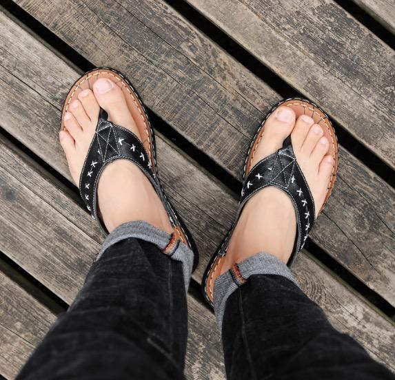 ขนาด: 45 46 47 48 49  สี:ดำ  รองเท้าคนอ้วน รองเท้าผู้ชาย รองเท้าแตะ ขนาดใหญ่