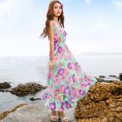 (พร้อมส่งสีม่วง) ชุดแม็กซี่เดรสแฟชั่น ชุดเดรสยาว ชุดเที่ยวทะเล ชุดเดรสลายดอกไม้