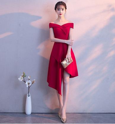 เสื้อผ้าผู้หญิงชุดออกงาน ชุดราตรีสั้น สีไวน์แดงตามรูป
