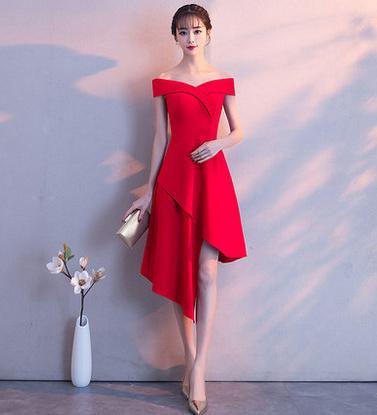 เสื้อผ้าผู้หญิงชุดออกงาน ชุดราตรีสั้น สีแดงตามรูป